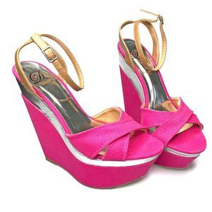 3 for $40 Hart in D Ankle Strap Pink Wedge Sandals